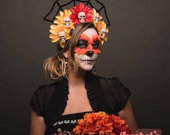 Dia de los Muertos Halo Crown Wicked Headpiece Day of the Dead Floral Headdress Flower Spider Web Spiderweb Fascinator Red Orange Yellow