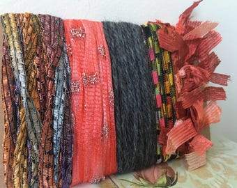 Creative Art Yarn Bundle Art Fiber Bundle Yarn Scraps Art Yarn Copper Yarn Bundle Gray Yarn Bundle Fiber Yarn Bundle Novelty Yarn Bundle