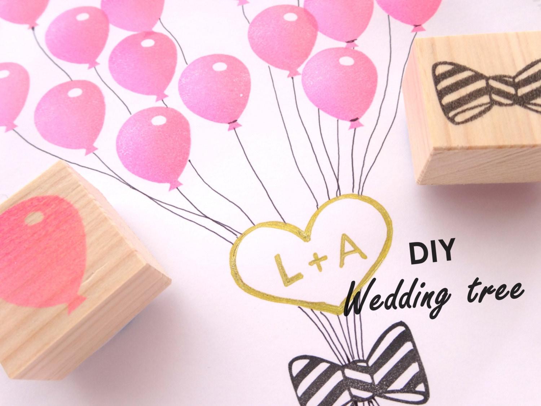 Balloon stamp Wedding tree DIY wedding Kawaii stationery