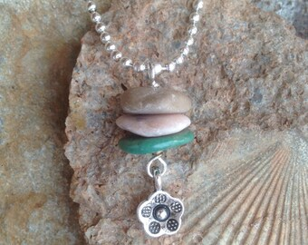 Beach Stone and Turquoise Cairn Necklace, Silver Flower Charm