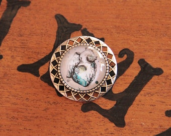 Water Heart cabochon silver brooch