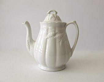 Royal Crownford Ironstone Coffee Tea Pot White Wheat, Weatherby Hanley England #87