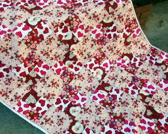 Handmade Quilt, Heart Quilt, Heart Decor,  Lap Quilted, Throw Quilt, Pink Red and White Blanket,