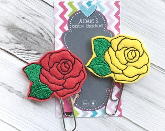 Rose Paper Clip - Rose Paperclip - Planner Paperclip - Planner Accessories - Flower Paper Clip - Rose Feltie