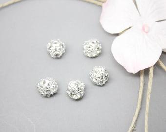 3 Silver filligree - SC00512 - 8mm rhinestones beads