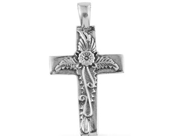 Floral Embossed Sterling Silver Cross Pendant Without Chain