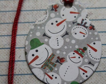 Round Christmas gift tags with snowmen on gray design chipboard covered tags...8 total