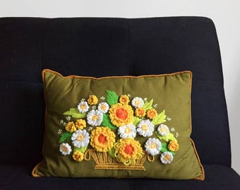 Floral Crewel Embroidered Pillow - Vintage