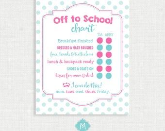Printable Chore Chart- School Chart - School Chore Charts - Weekly Chore Chart - Children Chart - Routine charts-  Reward Chart