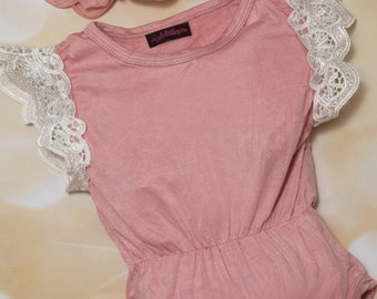 Baby Girl Cotton Mauve with Lace on Sleeves One Piece Girls Sleeveless Mauve with  Lace One Piece