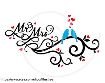 Wedding invitation, Save the date, Mr and Mrs, birds with swirl and red hearts, guest book, card, commercial use, EPS, SVG, instant download