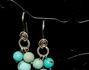Sterling silver and turquoise earrings with beautiful hand-formed earwires.