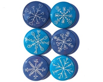 Snow Magnets or Snow Pinback Buttons - Snowflakes Magnet Set or Pin Set - Christmas Stocking Stuffer, Holiday Party Favors, Fridge Magnets