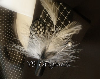 30% off Ready to Ship Black and White Peekaboo Boutonniere