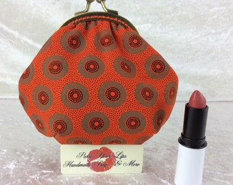 Shwe Shwe coin purse wallet fabric kiss clasp frame wallet change pouch handmade orange geometric South Africa