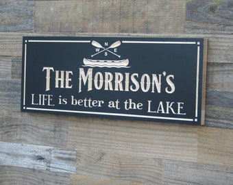 Sign For Lake House, Cabin Sign, Lakehouse Sign, Lodge Decor, Custom Lake House Signs, Benchmark Signs, Maple TK