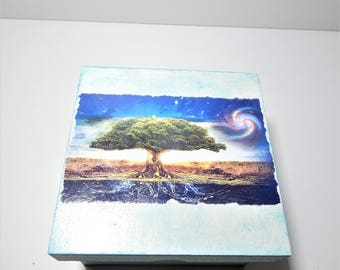 Tree of life decoupage Box Jewelry wooden Box Wedding Wishes Box Vintage Box Storage box jewellery wooden box keepsakebox rustic box