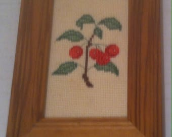 Vintage 1983 Wooden Wall Hanging, Cherry, Cherries, 6 1/2 x 4 1/2, Home Decor, Wall Decor, Picture, Frame Wooden