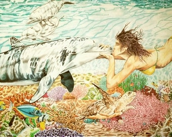 Kiss the Girl by ArtisticCurve, Underwater Artwork, Dolphine Print, Swimming Art