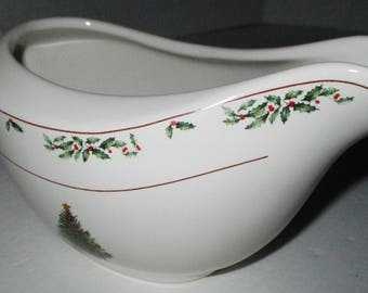 The Christmas Collection Gravy Boat 18 oz, Dishwasher & Microwave Safe, Christmas Tree Decoration, by East Bay Import, Porcelain Gravy Boat