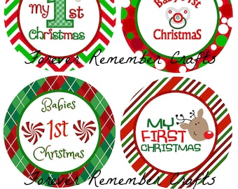 INSTANT DOWNLOAD Baby's 1st  Christmas 4 Inch Digital 8 1/2 x 11 Sheet Printables