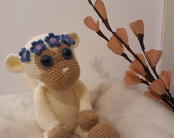 Monkey Amigurumi crochet flowers wreath-