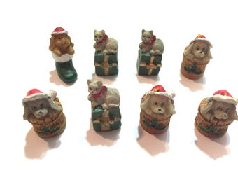 Christmas Miniature Collection Cats Dogs Assorted Embellishments Set of 8 Diorama Shadow Box Supply -  693 C