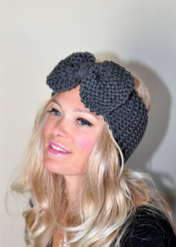 Items similar to Big Bow Ear Warmer Crochet Headband Turban Head ...
