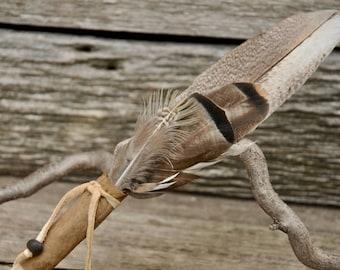Feather Fan, smudge feather fan, turkey feather fan,driftwood smudge fan