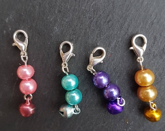 Stitch markers. Progress keepers. Set of four for knitting/crochet.  Christmas gift for knitter, snag free, craft supplies, crochet markers