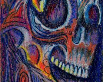 original art aceo card drawing halloween skeleton abstract colorful face