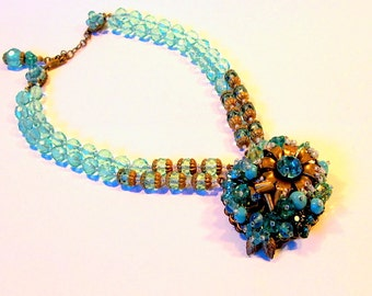 Miriam Haskell aqua choker with jeweled leaf cluster pendant