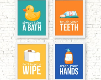Bathroom rules art prints, kids bathroom decor, wash your hands, brush your teeth, wipe your bum, wash your hands, kids decor, G-4031