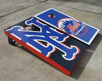 "CUSTOM PAINTED ""Rep my Sports Team(s)"" w/ BIG logo cornhole set"