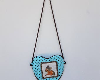 Cross stitch, bag,ready to ship,fabric, heart-shaped, green, brown, handmade, Bambi, girl, women, made in Italy,pois,button,gift
