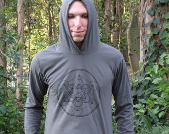 Metatron's Cube Sacred Geometry Hoodies - Many Colours, Festival Clothing, Rave, Flow Arts, Spiritual, Psy Trance, Doof, Tribal, Meditation