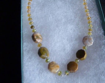 Vintage Agate Stone Necklace Sterling Silver Signed