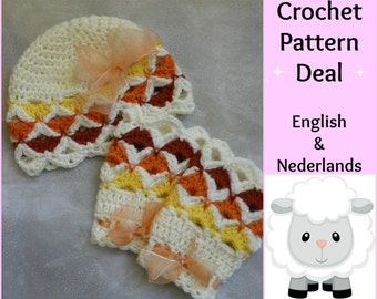 2 English + Dutch Patterns Baby  Set Autumn: Beanie  + Legwarmers  0 - 18  months