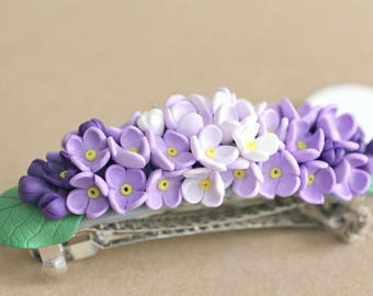Headband,Purple White Hydrangea Headband,Polymer Clay, Flower Headband,