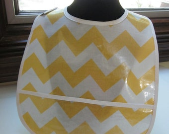 WATERPROOF WIPEABLE Baby to Toddler Wipeable Plastic Coated Bib Fresh Squeezed Lemonade Yellow and White Chevron