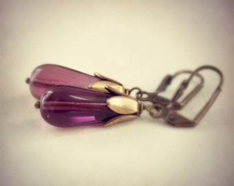 Amethyst Purple Glass Drop Earrings
