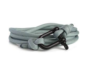 Shackle Bracelet, Grey & Black, Sailing Rope Bracelet, Mens Bracelet, Nautical Jewellery.