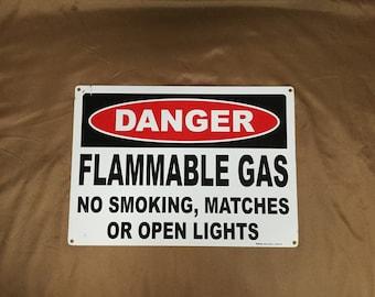 Road Sign Danger Flammable Gas industrial Art Man Cave Decor Not a Repop