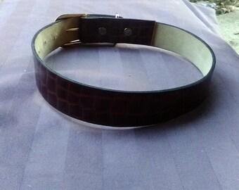 Snakeskin pattern dog collar wide brown