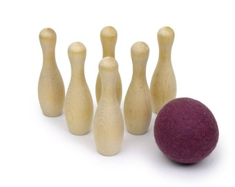 Kids Gift - Bowling Wood Toy - Montessori Toys - 1st Birthday Gift - Kids Wooden Toy