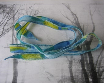 Hand Dyed Painted Habotai Silk Wrap Bracelet - blue green camo - Silk Fairy Ribbon DIY wrap bracelet Silk Bracelet  Ribbon Bracelet