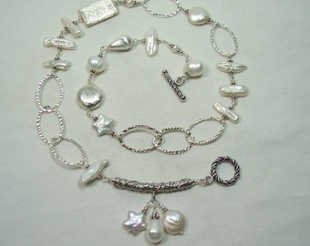 FAITH - Necklace in Pearl, Sterling Silver, and Argentium Sterling Silver