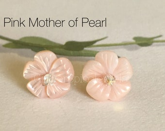 Silver Post Earring - 9mm Pink Mother Of Pearl Cherry Blossoms Flower