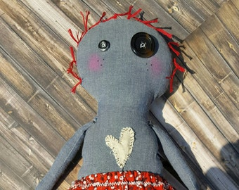 Rag doll, Cloth Doll, Handmade cloth doll,Plush Doll,Removable clothing, Button eyes,Gift for Her,Doll for her, Blue denim girl,Odd Doll,toy