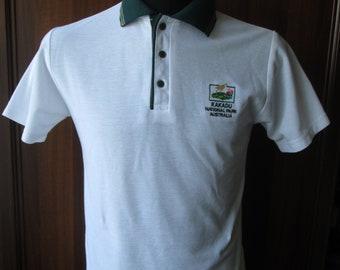 Vintage KAKADU National Park Australia Mens White Polo Shirt Size S Cotton Blend BC Sportsgear Used Condition